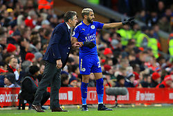 Riyad Mahrez of Leicester City talks with manager Claude Puel - Mandatory by-line: Matt McNulty/JMP - 30/12/2017 - FOOTBALL - Anfield - Liverpool, England - Liverpool v Leicester City - Premier League