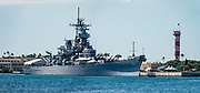 "Ordered in 1940 and active in June 1944, the USS Missouri (""Mighty Mo"") was the last battleship commissioned by the United States. She is best remembered as the site of the surrender of the Empire of Japan which ended World War II on September 2, 1945 in Tokyo Bay. In the Pacific Theater of World War II, she fought in the battles of Iwo Jima and Okinawa and shelled the Japanese home islands. She fought in the Korean War from 1950 to 1953. Decommissioned in 1955 into the United States Navy reserve fleets (the ""Mothball Fleet""), she was reactivated and modernized in 1984 and provided fire support during Operation Desert Storm in January-February 1991. The ship was decommissioned in March 1992. In 1998, she was donated to the USS Missouri Memorial Association and became a museum at Pearl Harbor, on the island of Oahu, Hawaii, USA. This image was stitched from multiple overlapping images."