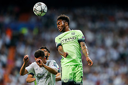 Raheem Sterling of Manchester City heads the ball - Mandatory byline: Rogan Thomson/JMP - 04/05/2016 - FOOTBALL - Santiago Bernabeu Stadium - Madrid, Spain - Real Madrid v Manchester City - UEFA Champions League Semi Finals: Second Leg.