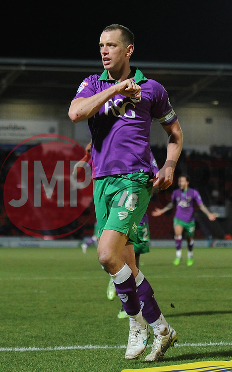 Bristol City's Aaron Wilbraham celebrates his goal. - Photo mandatory by-line: Dougie Allward/JMP - Mobile: 07966 386802 - 24/02/2015 - SPORT - Football - Doncaster - Keepmoat Stadium - Doncaster Rovers v Bristol City - Sky Bet League One