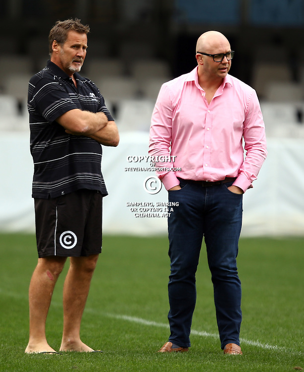 DURBAN, SOUTH AFRICA, 9 September, 2016 - Robert du Preez (Head Coach) of the Cell C Sharks with Eduard Coetzee during The Cell C Sharks Captains Run at Growthpoint Kings Park in Durban, South Africa. (Photo by Steve Haag)<br /> <br /> images for social media must have consent from Steve Haag
