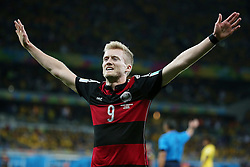 08.07.2014, Mineirao, Belo Horizonte, BRA, FIFA WM, Brasilien vs Deutschland, Halbfinale, im Bild Jubel bei Andre Schuerrle (GER) // during Semi Final match between Brasil and Germany of the FIFA Worldcup Brazil 2014 at the Mineirao in Belo Horizonte, Brazil on 2014/07/08. EXPA Pictures © 2014, PhotoCredit: EXPA/ Eibner-Pressefoto/ Cezaro<br /> <br /> *****ATTENTION - OUT of GER*****