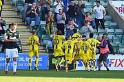 Goal - Kyle McFadzean (5) of Burton Albion celebrates scoring a goal to make the score 2-3 during the EFL Sky Bet League 1 match between Plymouth Argyle and Burton Albion at Home Park, Plymouth, England on 20 October 2018.