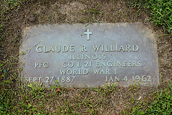 31 August 2017:   Veterans graves in Park Hill Cemetery in eastern McLean County.<br /> <br /> Claude R Williard Illinois Private First Class Co L 21 Engineers World War I Sept 27 1887 Jan 4 1962