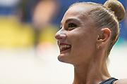 Ekaterina Vedeneeva during warm-up in 2017 italian championships. Ekaterina is a Slovenian individualistic gymnast of russian origin, born on June 23, 1994 in Irkutsk,Russia.