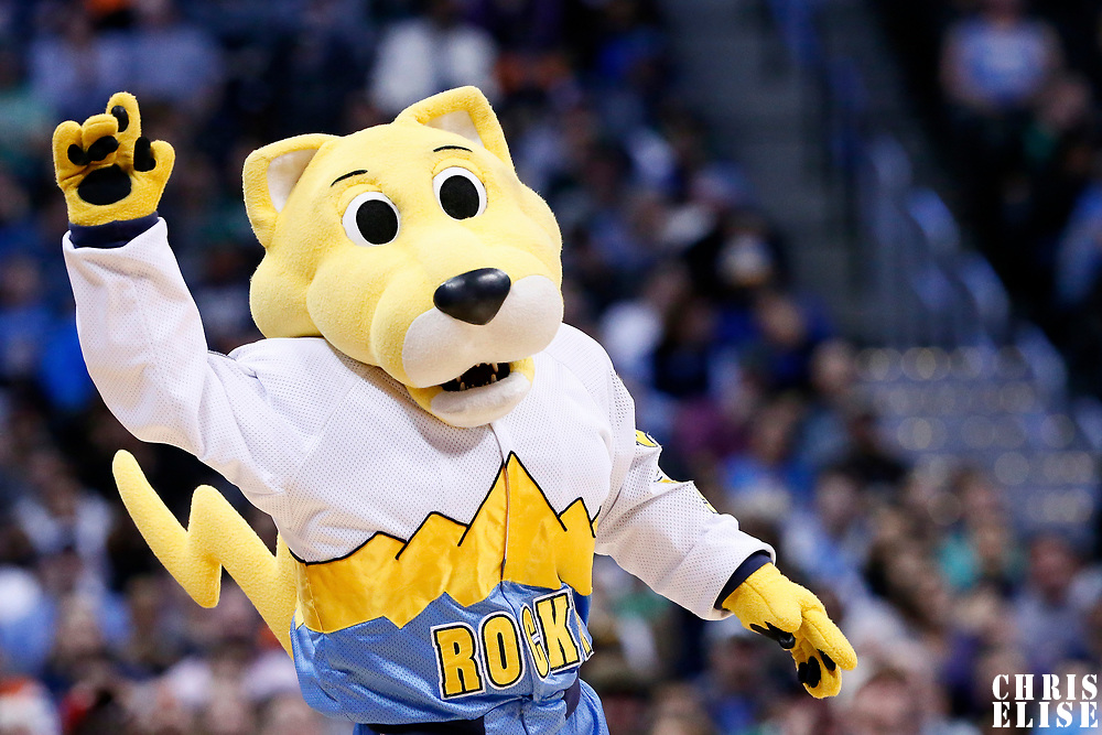 10 March 2017: Denver Nuggets mascot Rocky the Mountain Lion performs during the Denver Nuggets 119-99 victory over the Boston Celtics, at the Pepsi Center, Denver, Colorado, USA.