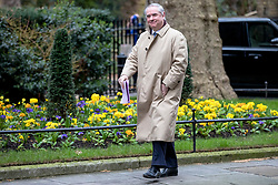 © Licensed to London News Pictures. 12/03/2019. London, UK. Attorney General Geoffrey Cox QC arrives Downing Street for a meeting of the Cabinet. MPs will get a second meaningful vote on Prime Minister Theresa May's Brexit deal this evening. Photo credit: Rob Pinney/LNP