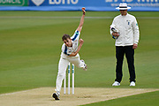 Ben Coad of Yorkshire bowling during the Specsavers County Champ Div 1 match between Hampshire County Cricket Club and Yorkshire County Cricket Club at the Ageas Bowl, Southampton, United Kingdom on 21 April 2017. Photo by Graham Hunt.
