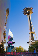 The Space Needle and metal sculpture at the Experience Music Project, Seattle, Washington