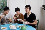 Portrait of friends having breakfast together