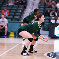 4th year middle blocker Kathleen Ens (8) of the Regina Cougars in action during Women's Volleyball home game on November 18 at Centre for Kinesiology, Health and Sport. Credit: Arthur Ward/Arthur Images