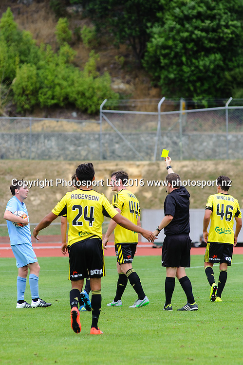 Louis Evans gets a yellow card during ASB premiership Wellington Phoenix vs. Hawke's Bay United match at Newtown Park, Wellington, New Zealand. Saturday 6th February  2016. Copyright Photo: Elias Rodriguez / www.Photosport.nz