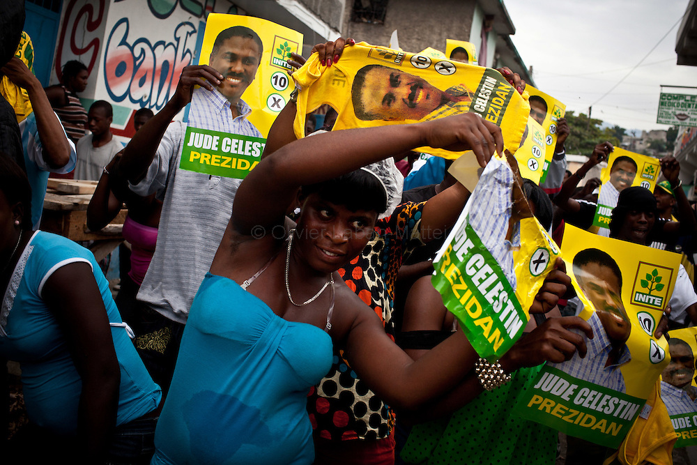 Celestin's supporters demonstrate, in the streets of Port-au-Prince, to celebrate the results of their leader, Jude Celestin.