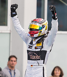 17.10.2015, Hockenheimring, Hockenheim, GER, DTM, Hockenheim, im Bild Pascal Wehrlein (DTM Mercedes AMG C Coupe) bejubelt seinen Sieg in der DTM Saison mit erhobenen Faeusten // during the DTM Championship Race at the Hockenheimring in Hockenheim, Germany on 2015/10/17. EXPA Pictures © 2015, PhotoCredit: EXPA/ Eibner-Pressefoto/ Neis<br /> <br /> *****ATTENTION - OUT of GER*****