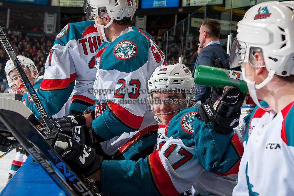 KELOWNA, CANADA - MARCH 4: Rodney Southam #17 of the Kelowna Rockets sits on the bench against the Tri-City Americans on March 4, 2017 at Prospera Place in Kelowna, British Columbia, Canada.  (Photo by Marissa Baecker/Shoot the Breeze)  *** Local Caption ***