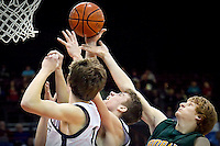 JEROME A. POLLOS/Press..Lake City's Mark Smyly is caught between his teammates and Travis Lloid from Borah High who were all battling for the rebound.