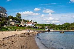 Seafront beach at Aberdour village in Fife, Scotland, UK