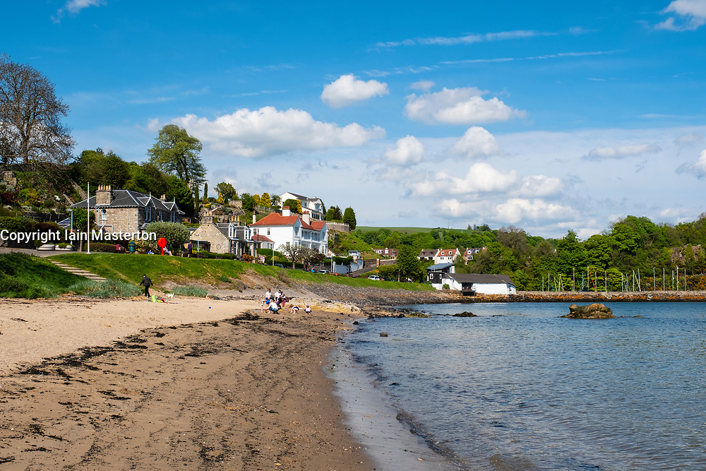 Seafront beach at Aberdour village in Fife, Scotland, UK