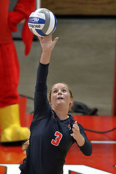 23 October 2015:  Courtney Pence(3) during an NCAA women's volleyball match between the Wichita State Shockers and the Illinois State Redbirds at Redbird Arena in Normal IL (Photo by Alan Look)