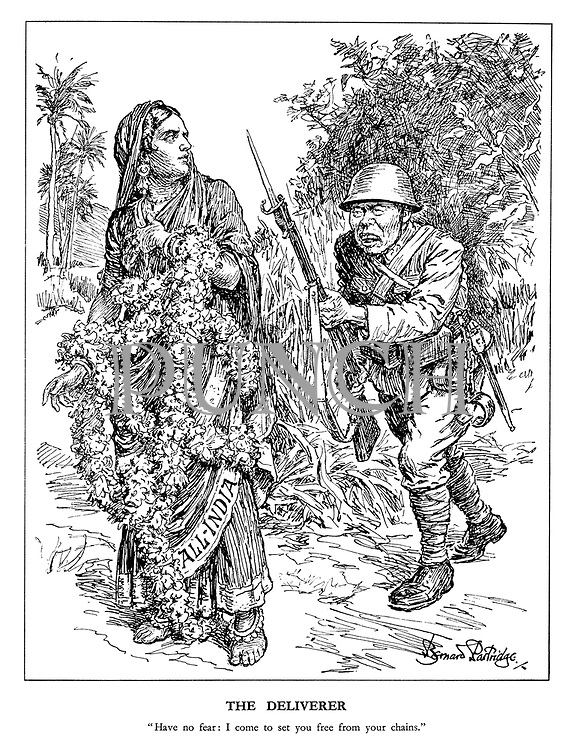 "The Deliverer. ""Have no fear: I come to set you free from your chains."" (a Chinese soldier approaches All-India who is tied with flowers)"