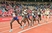 Agnes Tirop (KEN) wins the women's 5,000m in 14:50.82 during the Bauhaus-Galan in a IAAF Diamond League meet at Stockholm Stadium in Stockholm, Sweden on Thursday, May 30, 2019. From left: Loice Chemnung (KEN), Tiprop, Hellen Obiri (KEN), Caroline Kipkirui and Margaret Kipkemboi (KEN). (Jiro Mochizuki/Image of Sport)