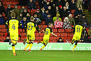 Burton Albion's Jacob Davenport scores a goal and celebrates 2-0 during the EFL Sky Bet Championship match between Barnsley and Burton Albion at Oakwell, Barnsley, England on 20 February 2018. Picture by John Potts.