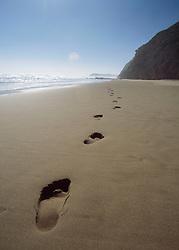 Footprints on sandy beach (Credit Image: © Axiom/ZUMApress.com)