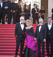 Michael Caine and Jane Fonda, Harvey Keitel, and Paolo Sorrentino at the gala screening for the film Youth at the 68th Cannes Film Festival, Wednesday May 20th 2015, Cannes, France.
