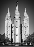 A black and white version of the Salt Lake City, Utah LDS Temple among the flowers of the Temple grounds in Summer.