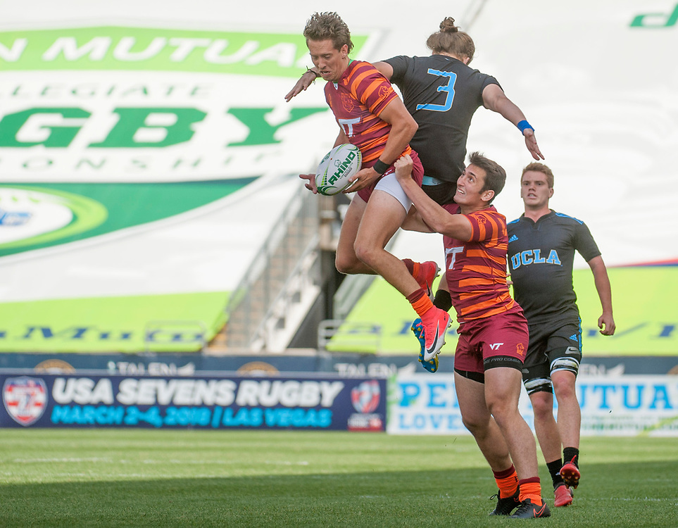 UCLA and Virginia Tech compete in pool play of the 2017 Penn Mutual Collegiate Rugby Championship at Talen Energy Stadium in Philadelphia. June 3, 2017. <br /> <br /> By Jack Megaw.<br /> <br /> www.jackmegaw.com<br /> <br /> jack@jackmegaw.com<br /> @jackmegawphoto<br /> [US] +1 610.764.3094<br /> [UK] +44 07481 764811