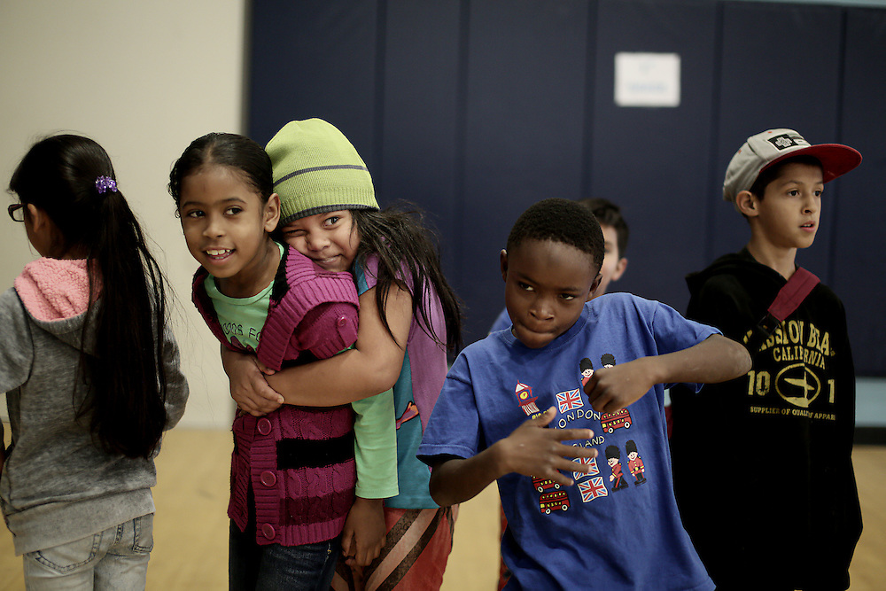 Students during gym class at the Monarch School in San Diego, CA on Friday, May 15, 2015.  The Monarch School is the largest elementary through High School facility that caters to students that are homeless or are have associations with homelessness.(Photo by Sandy Huffaker for The Atlantic)