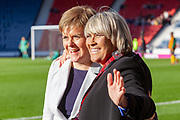First Minister Nicola Sturgeon pictured with Rose Reilly during a Scotland Cap presentation ahead of the International Friendly match between Scotland Women and Jamaica Women at Hampden Park, Glasgow, United Kingdom on 28 May 2019.