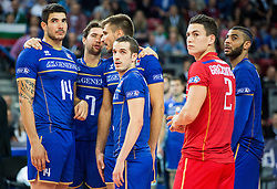 Nicolas Le Goff #14 of France, Kevin Tillie #7 of France, Antonin Rouzier #4 of France, Benjamin Toniutti #6 of France, Jenia Grebennikov #2 of France and Earvin Ngapeth #9 of France  during volleyball match between National teams of France and Bulgaria in 2nd Semifinal of 2015 CEV Volleyball European Championship - Men, on October 17, 2015 in Arena Armeec, Sofia, Bulgaria. Photo by Vid Ponikvar / Sportida