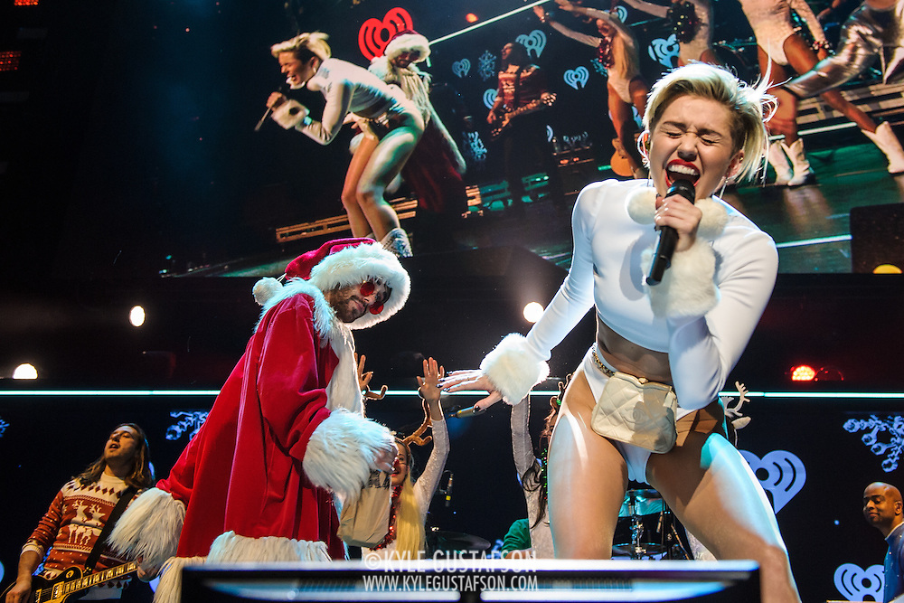 WASHINGTON, D.C. - December 16th, 2013 - Miley Cyrus performs onstage during Hot 99.5's Jingle Ball 2013, presented by Overstock.com, at Verizon Center on December 16, 2013 in Washington, D.C. (Photo by Kyle Gustafson / For The Washington Post)