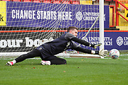AFC Wimbledon goalkeeper Joe McDonnell (24) warming up during the EFL Sky Bet League 1 match between Charlton Athletic and AFC Wimbledon at The Valley, London, England on 28 October 2017. Photo by Matthew Redman.