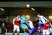 Fleetwood Town Defender Conor Mcglaughlin heads for goal during the Sky Bet League 1 match between Fleetwood Town and Walsall at the Highbury Stadium, Fleetwood, England on 15 March 2016. Photo by Pete Burns.