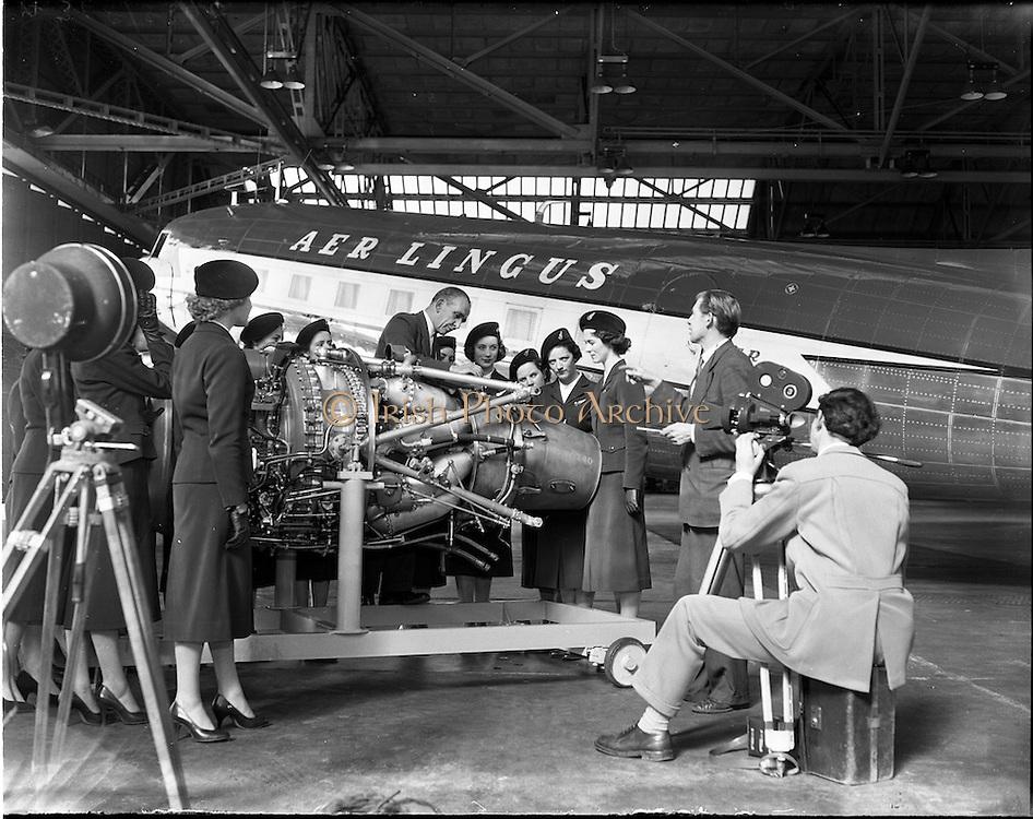 13/05/1957<br /> 05/13/1957<br /> 13 May 1957<br /> Aer Lingus Special. Gael - Linn film unit filming training of air hostesses.