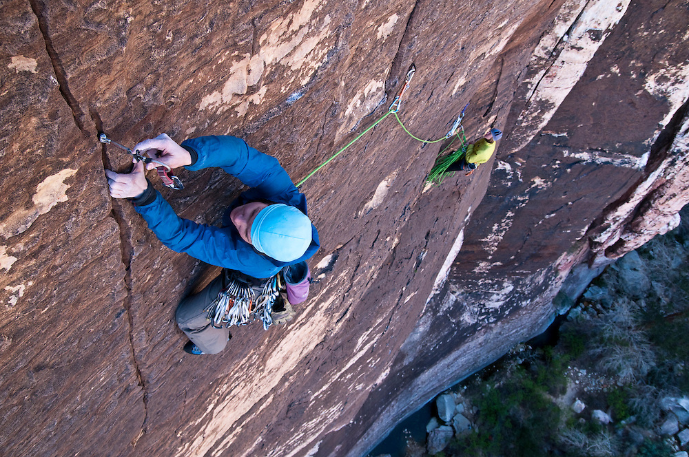 Majika Burhardt and Kate Rutherford climb Risky Business,(5.10+ R)  Mescalito Buttress, Red Rocks, NV