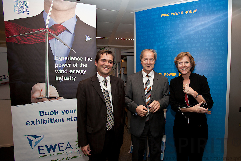 From left Christian Kjaer, CEO, EWEA, Jo Leinen MEP, Chairman of the Environment, Public Health and Food Safety Committee, European Parliament, and  Connie Hedegaard, European Commissioner for Climate Action, at the EWEA Debate meeting on Achieving 30% lower emissions in the EU: the role of wind energy & other renewables at the EWEA office in Brussels 8 November 2011. Photo: Erik Luntang/INSPIRIT