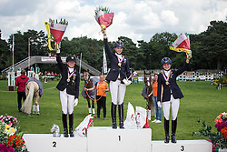 Individual podium<br /> 1. Sanne Vos (NED) - TC Champ of Class DVB<br /> 2. Semmieke Rothenberger (GER) - Golden Girl<br /> 3. Bos Rosalie (NED) - Paso Double<br /> European Championship Poney - Fontainebleau 2012<br /> © Dirk Caremans