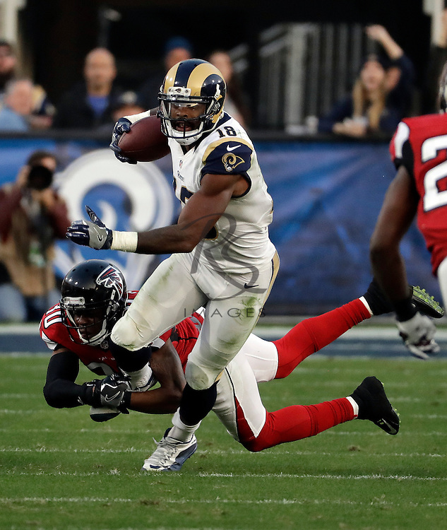 Los Angeles Rams wide receiver Kenny Britt (18) during the first half of an NFL football game against the Atlanta Falcons, Sunday, Dec. 11, 2016, in Los Angeles. (AP Photo/Rick Scuteri)