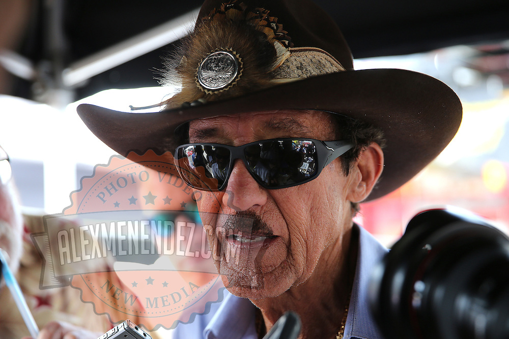 Richard Petty speaks to media during his birthday party at the 57th Annual NASCAR Coke Zero 400 race first practice session at Daytona International Speedway on Friday, July 3, 2015 in Daytona Beach, Florida.  (AP Photo/Alex Menendez)