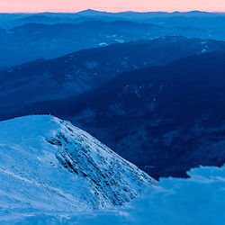 The White Mounains at dawn as seen from the summit of Mount Washington.