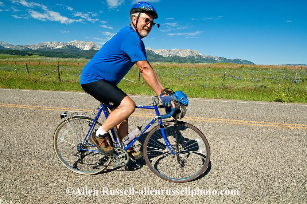Bicycling, Bridger Mountains, north of Bozeman, Montana