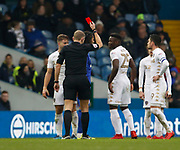 Referee Graham Scott shows a red card to Leeds United defender Gaetano Berardi (28) during the EFL Sky Bet Championship match between Leeds United and Cardiff City at Elland Road, Leeds, England on 3 February 2018. Picture by Paul Thompson.