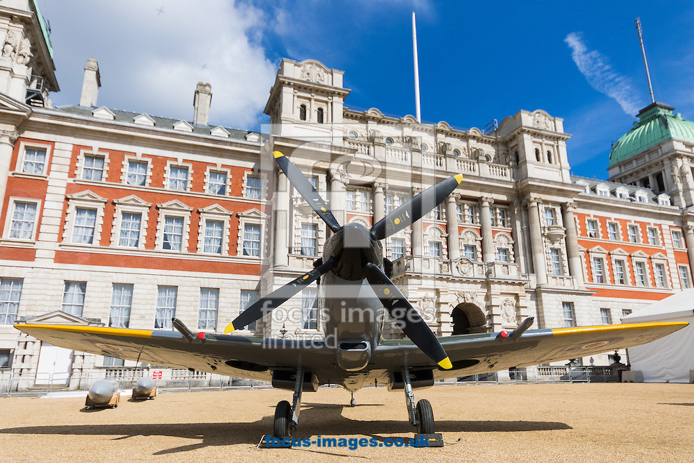 A Second World War Spitfire Mk XVI rests on the gravel as the Royal Air Force Museum promotes the forthcoming 100th anniversary of the Royal Air Force in 2018 with a static display of warplanes in Horseguards Parade, Westminster.<br /> Picture by Paul Davey/Focus Images Ltd +447966 016296<br /> 31/03/2016