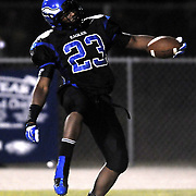 East Bladen's Farrell Murchison celebrates a touchdown against Wallace-Rose Hill. (Jason A. Frizzelle)