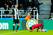 Miguel Almiron (#24) of Newcastle United reacts after being called for a foul on Ryan Bertrand (#21) of Southampton during the Premier League match between Newcastle United and Southampton at St. James's Park, Newcastle, England on 8 December 2019.