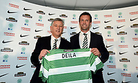06/06/14<br /> CELTIC PARK - GLASGOW<br /> Chief Executive Peter Lawwell (left) unveils Ronny Deila as the new Celtic manager.