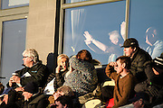 Hartlepool United fans battling the sun in the second half during the EFL Sky Bet League 2 match between Newport County and Hartlepool United at Rodney Parade, Newport, Wales on 28 January 2017. Photo by Andrew Lewis.